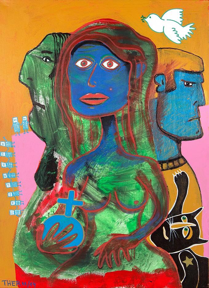 Frau mit Friedenstaube