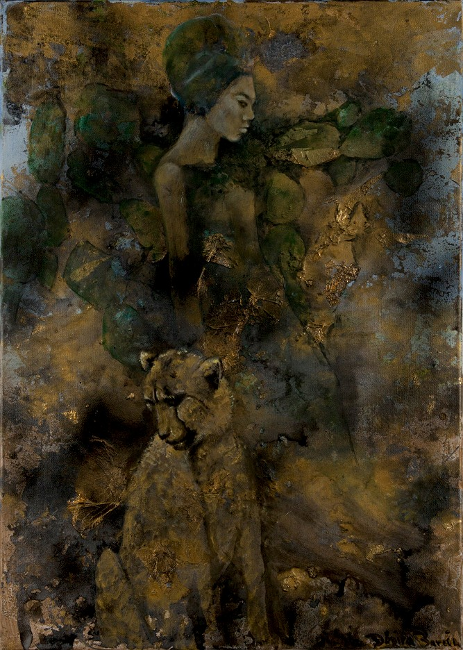 Woman with leopard