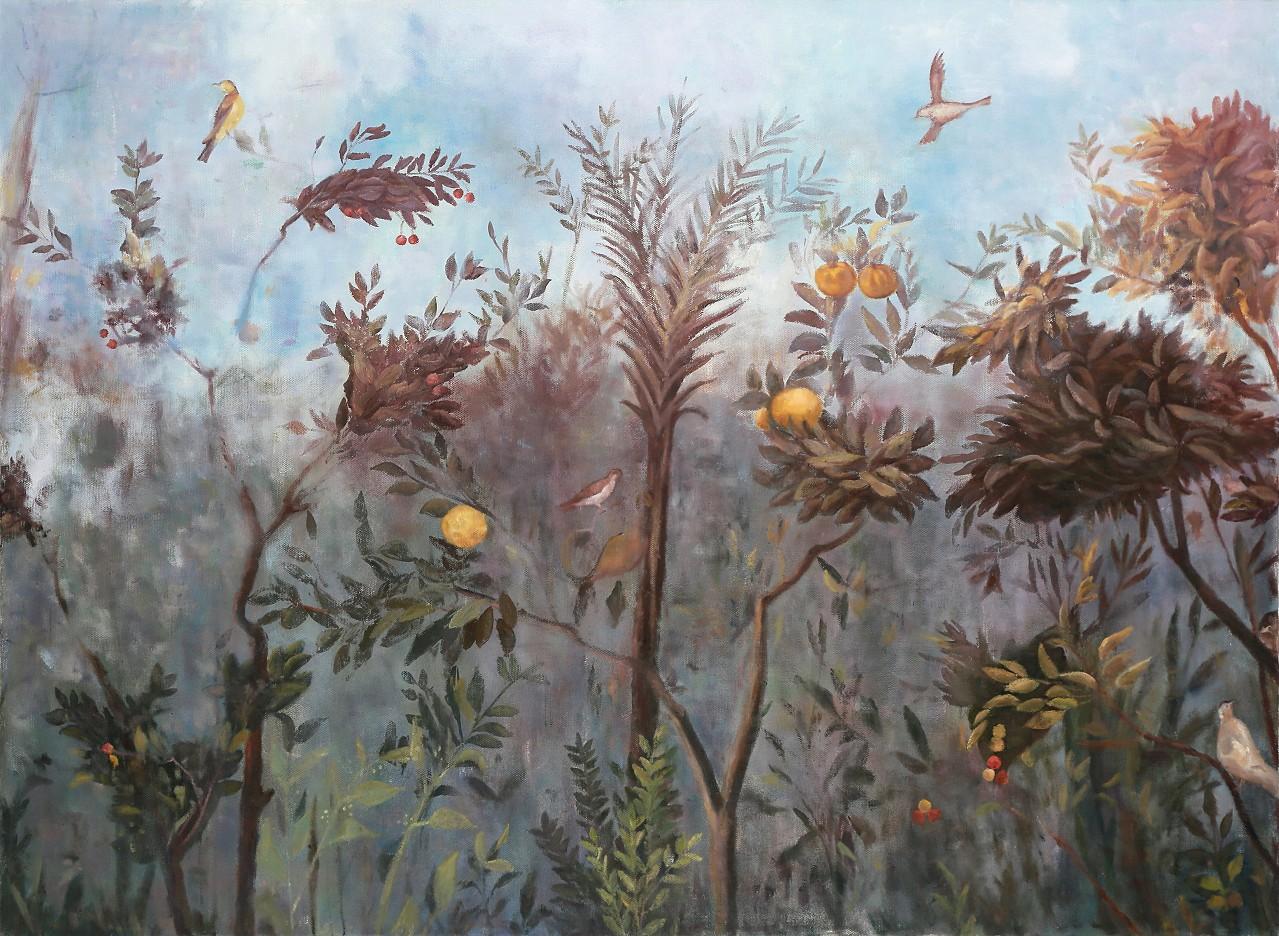 Garten mit Vögeln