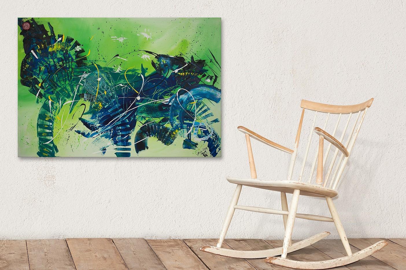 abstraktes blaues Pferd