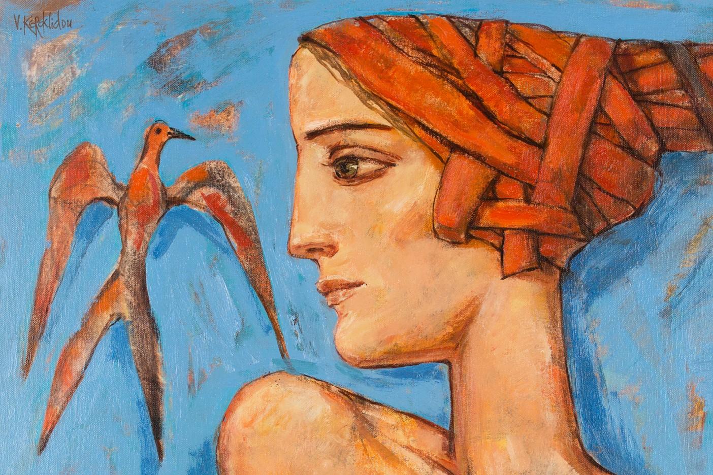 Mädchen mit Vogel