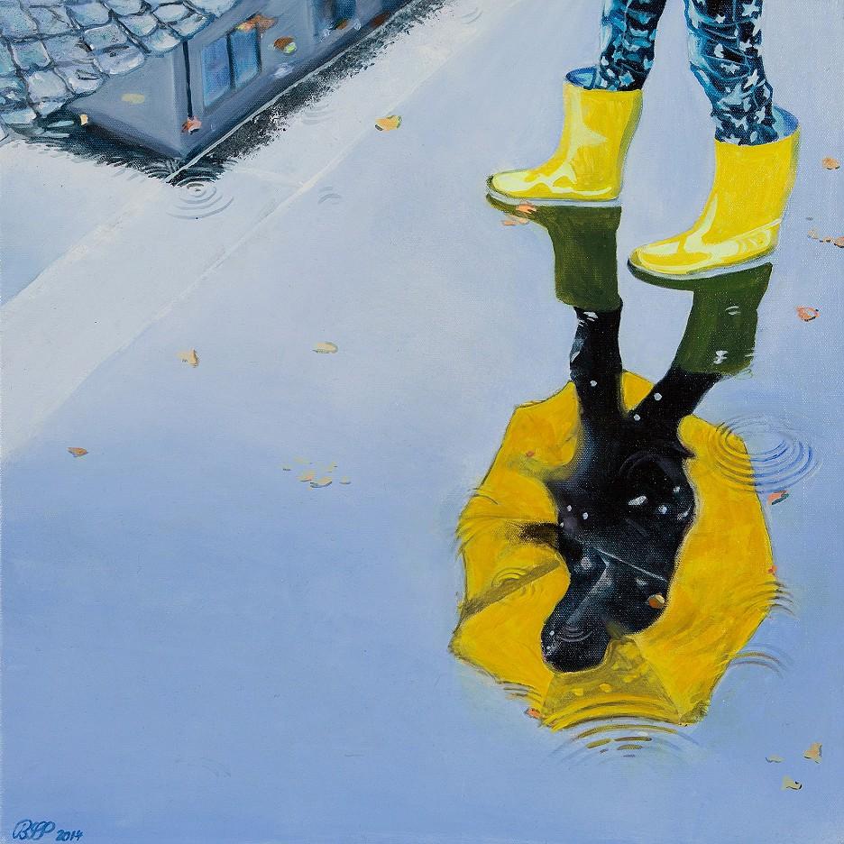 Regen No. 12, Gelber Schirm