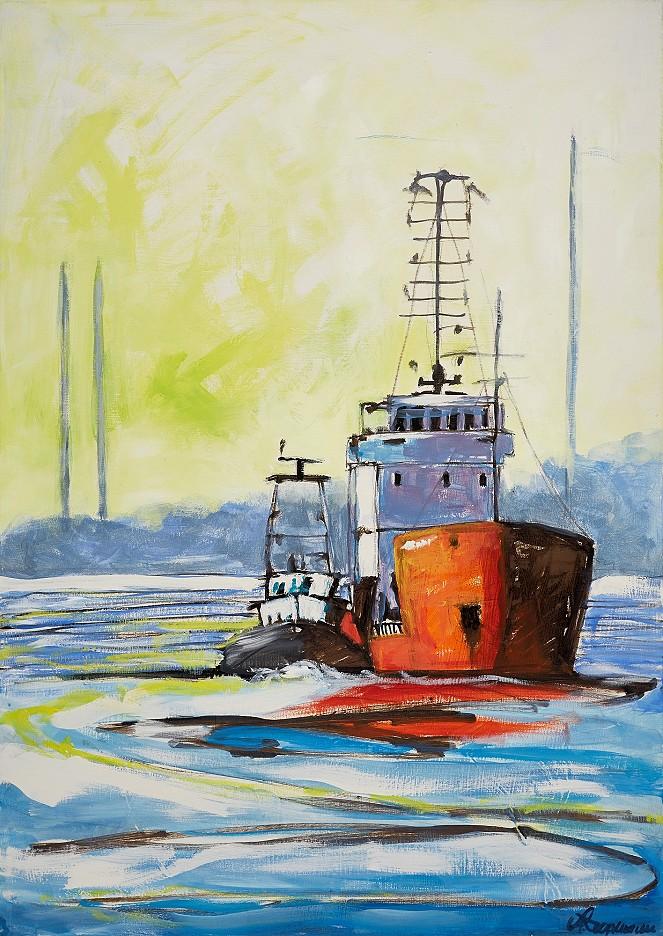Seeschiff und Schlepper / Elbe