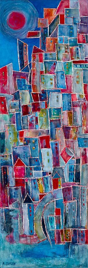 Blaue Häuser am Meer