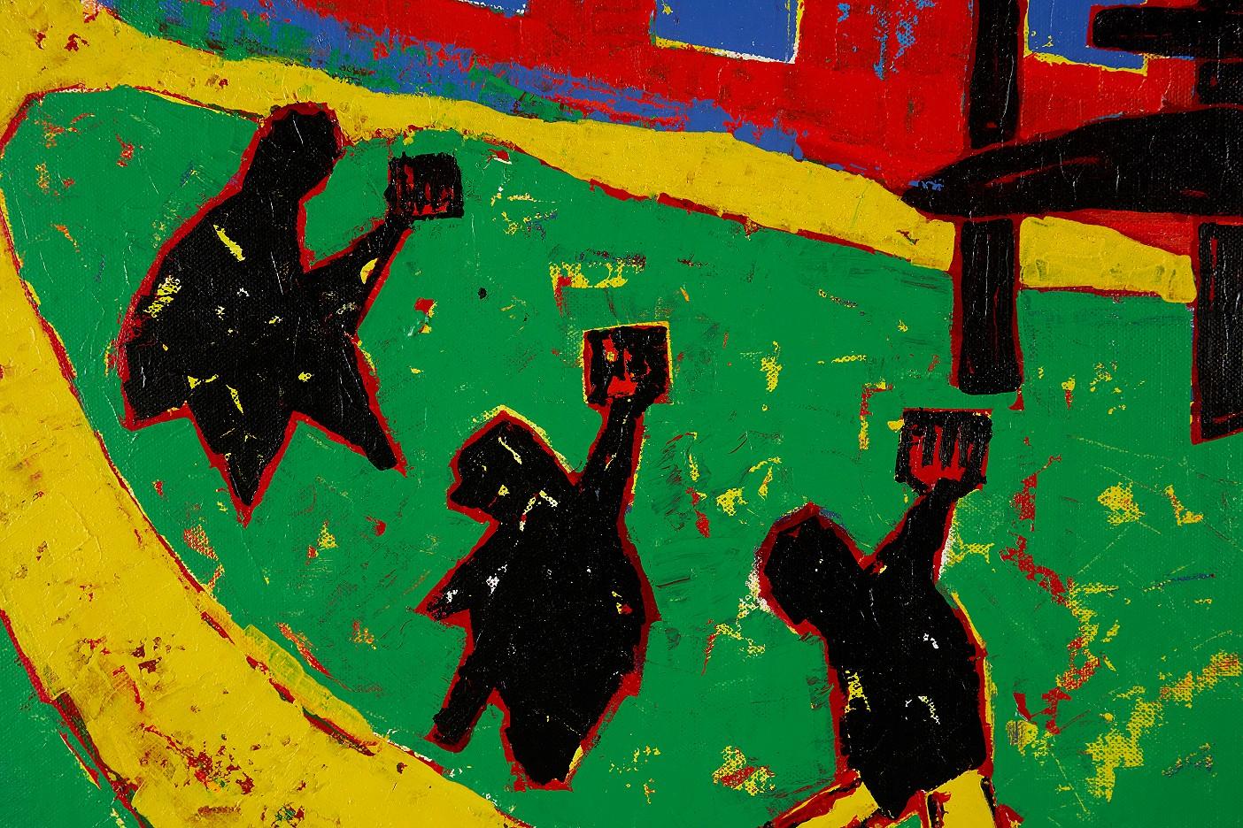 Gelbe Gummistiefel und drei Fäuste vor orangem Haus